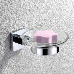 Modern Contemporary Round Soap Dish Chrome Finish Soap Rack Silver Wall Mounted Brass Soap Holder