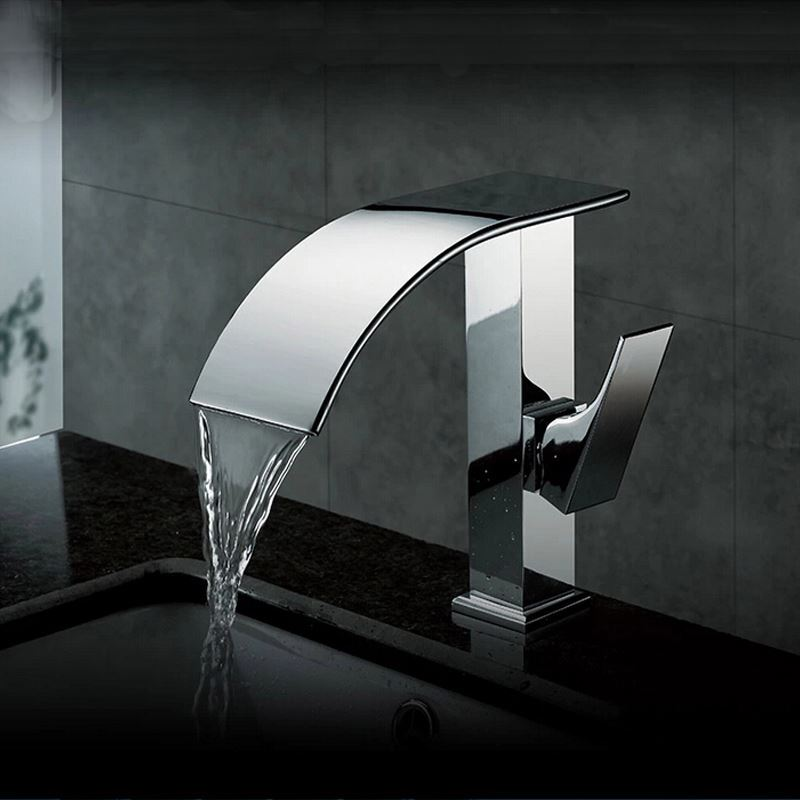 contemporary waterfall bathroom sink faucet chrome finish. Black Bedroom Furniture Sets. Home Design Ideas