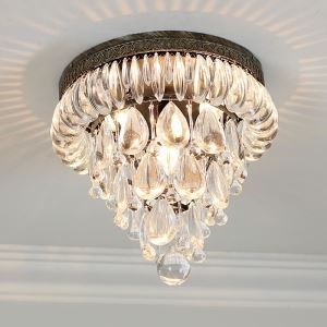 American Country Style Crystal Antique Silver Flush Mount Ceiling Light