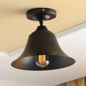 American Country Style Light Black Iron & Hardware Flush Mount Ceiling Light