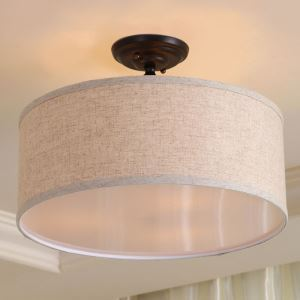 American Country & Nordic Style Grey Iron & Fabric Flush Mount Ceiling Light
