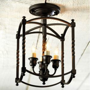 American Country Style Light Black Iron Flush Mount Ceiling Light