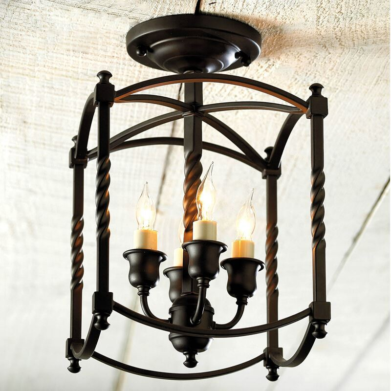 American Country Style Light Black Iron Flush Mount