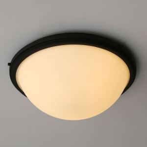 American Country Style Light Black Iron & Glass Flush Mount Ceiling Light