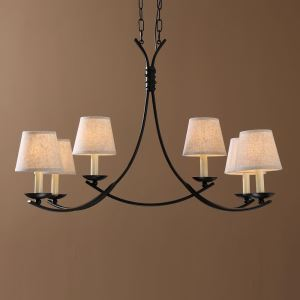 American Country Style Wrought Iron Rust Paint Light Black/Antique Fabric Chandelier(adjustable)