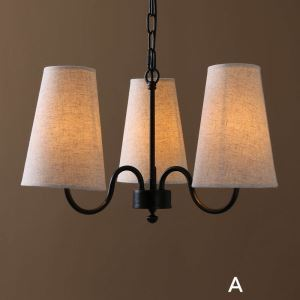 American Country, Nordic Style Iron Paint A/B/C Models Fabric Chandelier(adjustable)