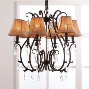 American Country Style Iron Paint Crystal & Antique/Light Black Chandelier without Lamp Shade (adjustable)