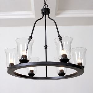 American Country Style Iron Paint Light Black Glass Chandelier(adjustable) Black Chandelier