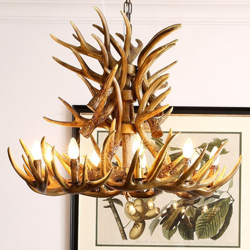 Faux Antler Chandelier Lighting Country Nordic Style Two Tier With 9 Lights Dining Room Ideas Living Bedroom