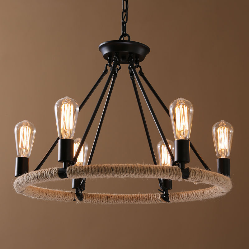 Lighting Ceiling Lights Chandeliers American Country Nordic Style Iron Rope Paint Light