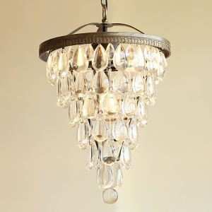 40W E12/E14 Country Antique Silver Pendant Light Iron & Crystal ceiling lights (Chain Adjustable)