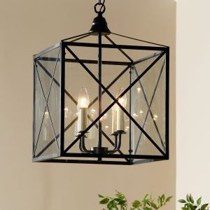 40W E12/E14 Country Pendant Light Iron & Glass ceiling lights (Chain Adjustable)