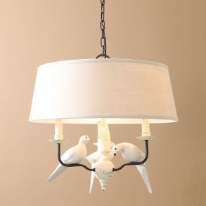 40W E12/E14 Country Chandelier Iron & Resin & Fabirc ceiling lights (Chain Adjustable)