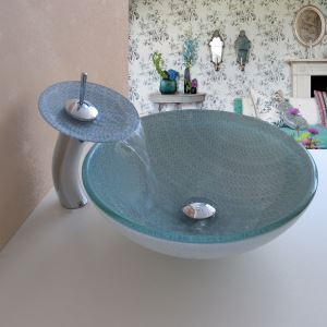 Simple/Modern/Pastoral White Stripe & Small Blue Flowers Round Tempered Glass Sink with Faucet (Set)