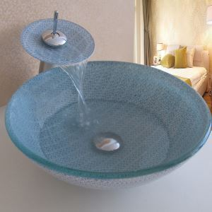 Simple/Modern/Pastoral Striped & Small blue Flowers Round Tempered Glass Sink with Faucets (Set)