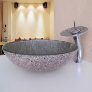 Simple/Modern/Pastoral Round Tempered Glass Sink with Faucet (sets)