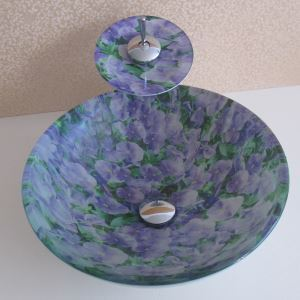 Simple/Modern/Pastoral White Bottom and Purple Flowers Round Tempered Glass Sink with Faucet (sets)