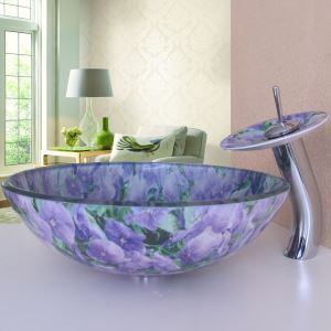 Simple/Modern/Pastoral Purple Flowers Both sides and Round Tempered Glass Sink with Faucet (sets)
