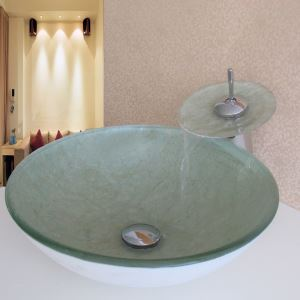 Simple/Modern/Pastoral White Bottom and Beige Marble Round Tempered Glass Sink with Faucet (sets)