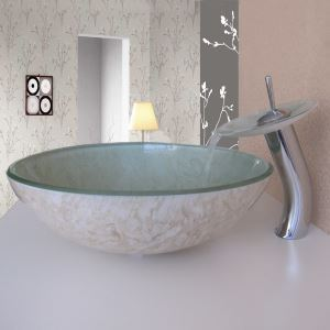 Simple/Modern/Pastoral Beige Marble on Both Sides Round Tempered Glass Sink with Faucet (sets)