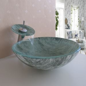 Simple/Modern/Pastoral Marble Round Tempered Glass Sink with Faucet (sets)