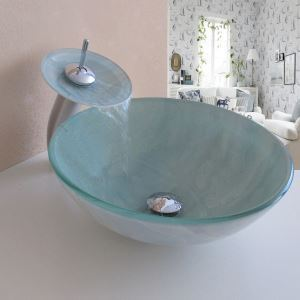 Simple/Modern/Pastoral White Marble Round Tempered Glass Sink with Faucet (sets)