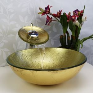 Simple/Modern/Pastoral Golden Marble Round Tempered Glass Sink with Faucet (sets)