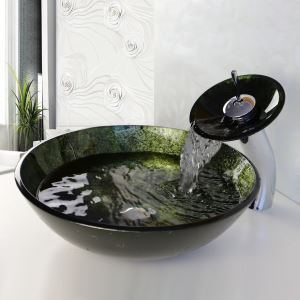 Simple/Modern/Pastoral Dark Green Marble Round Tempered Glass Sink with Faucet (sets)