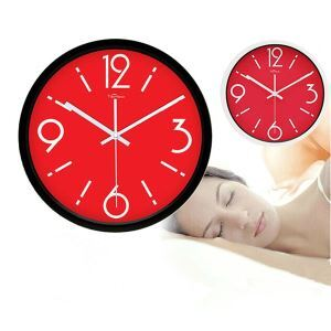 Stylish Red Dial Wall Clock in Stainless Steel