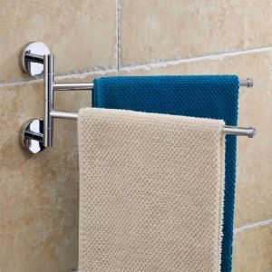 Chrome Finish Double Wall Mount Movable Towel Bar
