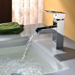 Deck Mounted Single Hole Chrome Finished Bathroom Brass Basin Faucet With Unique Design