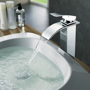 Beautiful Chrome Solid Copper Waterfall Tap Faucet With Single Handle