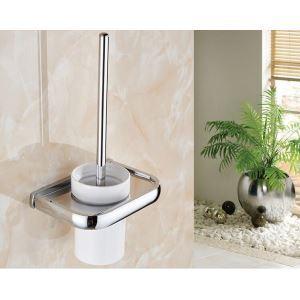 Modern Contemporary Chrome-colored Brass Toilet Brush Holder