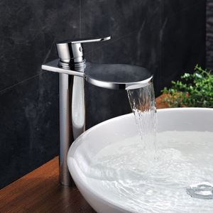 Deck Mounted Waterfall Copper Finish Chrome Bathroom Face Basin Faucet