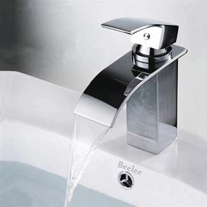 (In Stock)Contemporary Brass Waterfall Bathroom Sink Faucet