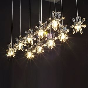 Crystal 10-Light Bar Pendant Light in Floral Shape