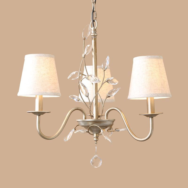 Image of Electroplating European Retro Style Chandelier(Iron,Crystal,Fabric) with 3 lights.