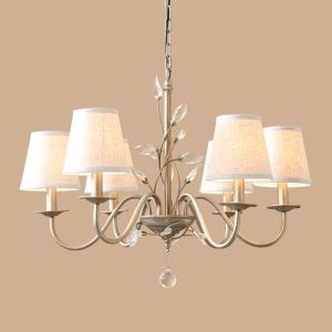 E14/E12 40W Electroplating European Retro Chandelier(Iron/Crystal/Fabric) with 6 lights.