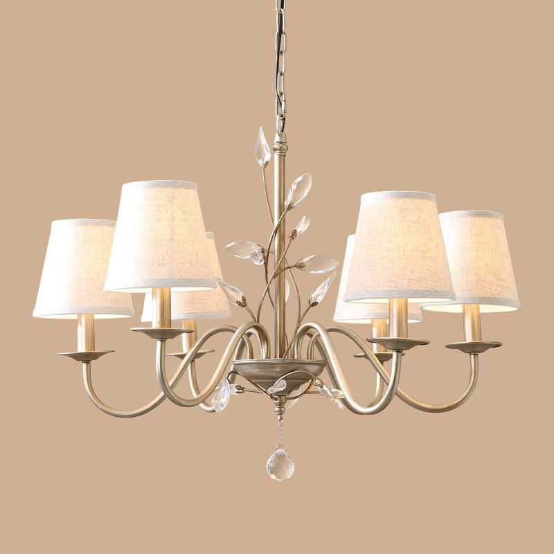 Image of E14/E12 40W Electroplating European Retro Chandelier(Iron/Crystal/Fabric) with 6 lights.
