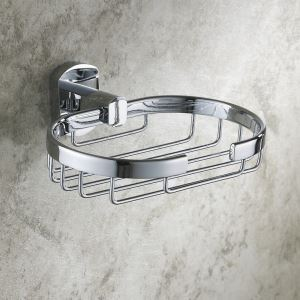Modern Contemporary Chrome-colored Brass Soap Holder
