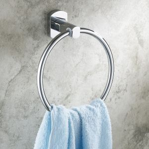 Modern Contemporary Wall-mounted Chrome-colored Brass Towel Ring
