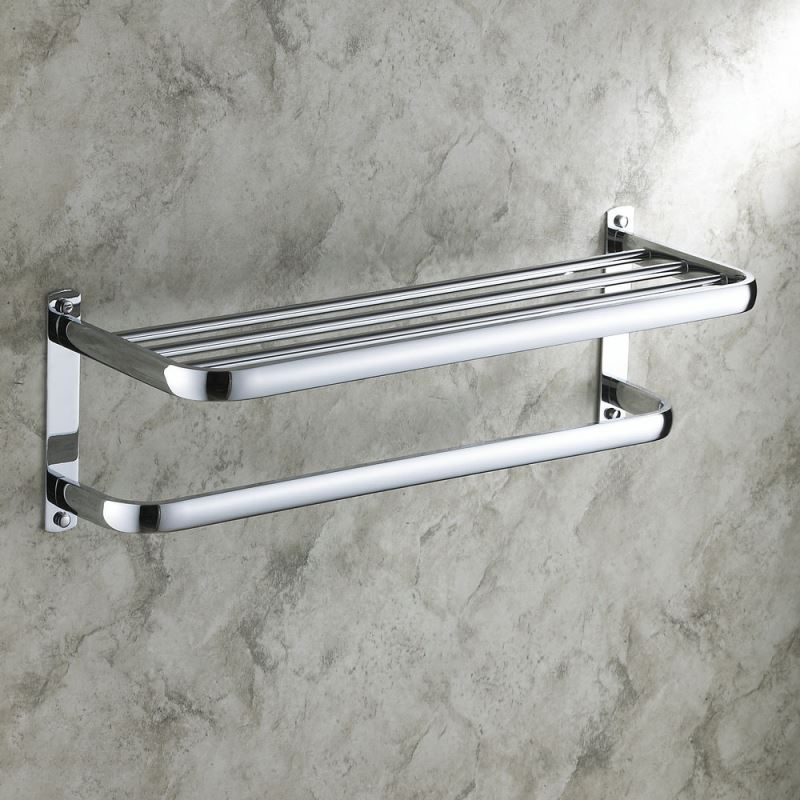 Modern Towel Bar Contemporary Wall Mounted Chrome Finish