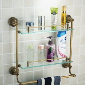Antique European Style Brass & Glass Double Bath Shelf