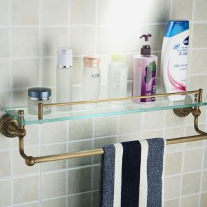 Antique European Style Brass & Glass Bath Shelf