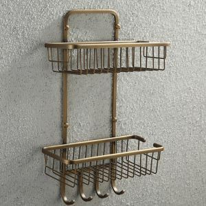 Antique European Style Brass Double Bath Shelf