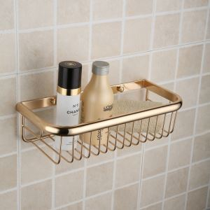 Modern Contemporary Ti-PVD Finish Brass Bath Shelf