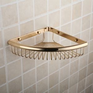 Modern Contemporary Golden Triangle Chrome Finish Brass Bath Shelf