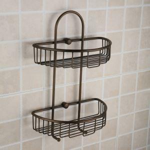 Antique European Style Brass Double Bath Shelf
