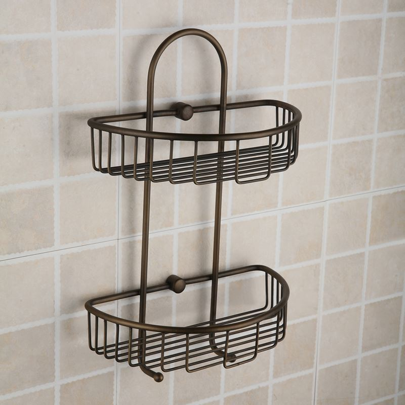Bathroom Bath Shelves Antique European Style Brass Double Bath Shelf