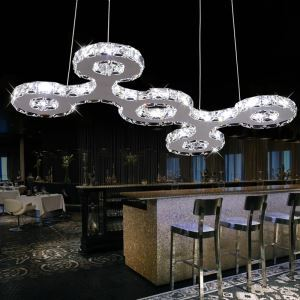 43W White LED Stainless Steel Crystal Pendant Light Energy Saving